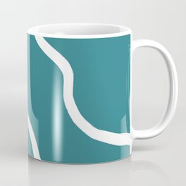 Contemporary Teal and White Abstract Coffee Mug