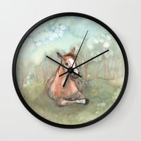 pony Wall Clocks featuring Resting Pony by Bluedogrose