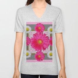 Fuchsia Gerbera & Shasta Daisy  Pink-Grey Pattern Art Unisex V-Neck