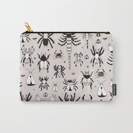 Creepy grunge insect and spider illustration pattern print Carry-All Pouch