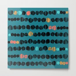 Coloured spots on teal Metal Print