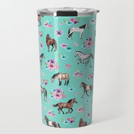 Hand drawn horses, Flower horses, Floral Pattern, Aqua Blue Travel Mug