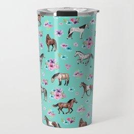 Hand drawn horses, Flower horses, Floral Pattern, Aqua Blue Travel Mug