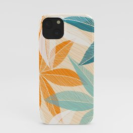 Orange and Teal Tropical Floral Print iPhone Case