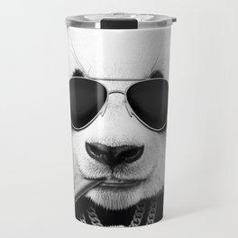 Panda in Black Travel Mug