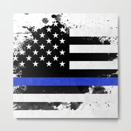 Distressed Thin Blue Line American Flag Metal Print