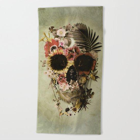 Garden Skull Light Beach Towel