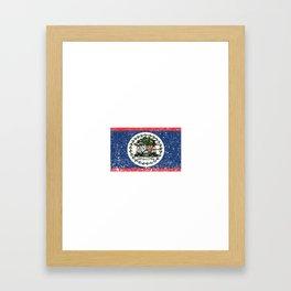 Belizean National Flag Vintage Belize Country Gift Framed Art Print