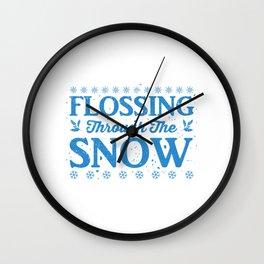 Flossing Through The Snow wb Wall Clock