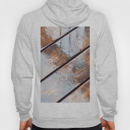 It's Raining! Beautiful Abstract Photography of Rain Falling on Redwood Deck Hoody