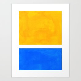 Primary Yellow Cerulean Blue Mid Century Modern Abstract Minimalist Rothko Color Field Squares Art Print
