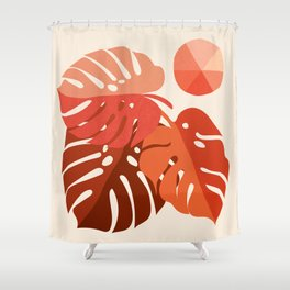 Abstraction_MONSTERA_TROPICAL_ART_Minimalism_001A Shower Curtain