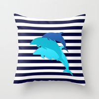 dolphins Throw Pillows featuring Dolphins by My Studio