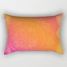 Fuchsia Pink Orange & Gold Indian Mandala Glam Rectangular Pillow