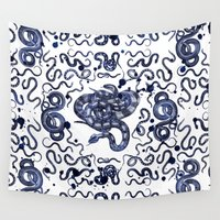 snake Wall Tapestries featuring SNAKE by DIVIDUS