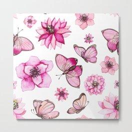 Pretty Pink Flowers & Butterfly's Metal Print