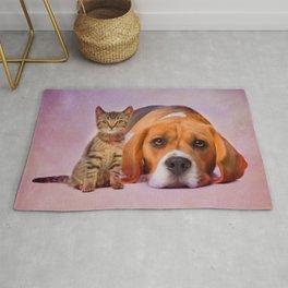 Beagle dog and kitten digital art Rug