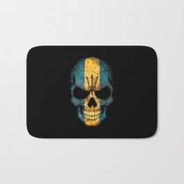 Dark Skull with Flag of Barbados Bath Mat