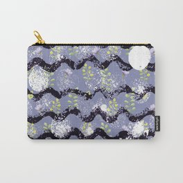 Modern abstract black white lilac floral geometrical Carry-All Pouch
