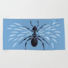 Weird Abstract Flying Ant Beach Towel