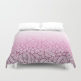 Gradient pink and white swirls doodles Duvet Cover