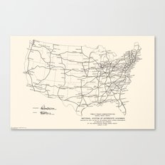 1947 Interstate Highway Map: Digital Recreation Canvas Print