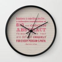 darren criss Wall Clocks featuring Happiness (Darren Criss) by Annie