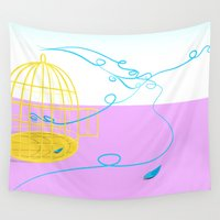 cage Wall Tapestries featuring Bird cage by Elisa Rosa
