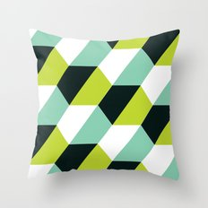 Lime green & turquoise hexagon pattern  Throw Pillow