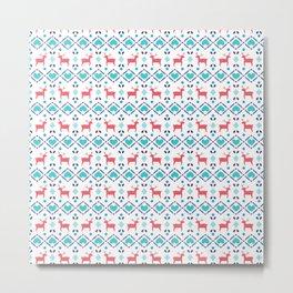 Deers & Hearts Pattern Metal Print