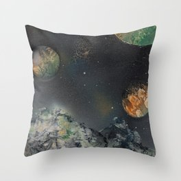 Orange and Green Planets Spacescape - Spray Paint Art Throw Pillow