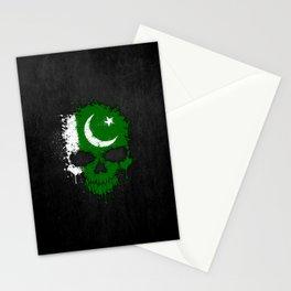 Flag of Pakistan on a Chaotic Splatter Skull Stationery Cards