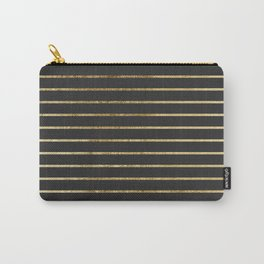 Elegant Chic Yellow Gold Stripes and Black Carry-All Pouch