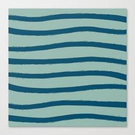 Paint Lines Turquoises Canvas Print