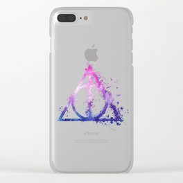 Deathly Hallows galaxy paint drops - Potterhead - elder wand, invisibility cloak, resurrection stone Clear iPhone Case