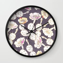 Modern white gold mauve lavender catus floral Wall Clock