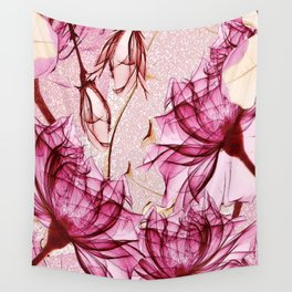 Blush rose red blossom Wall Tapestry