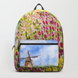 Tulips Field under the Cloudy Sky Backpack