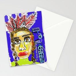 Mod Pop Art Native American Portrait Digital Drawing by Katie Pfeiffer Stationery Cards