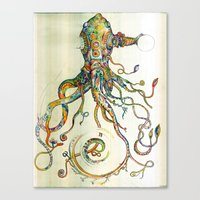 watercolor Canvas Prints featuring The Impossible Specimen by Will Santino