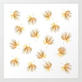 Golden Boho Palm Leaf Watercolor Art Print