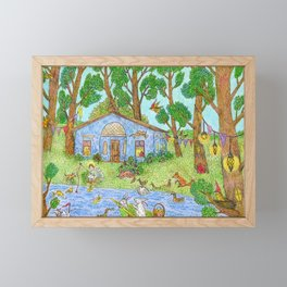 Fairy house, angel and cute animals in summer. Framed Mini Art Print