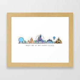 Meet me at my Happy Place Theme Park Skyline Framed Art Print