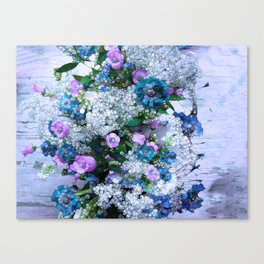 Flowers, Pink, Lilac, Teal Canvas Print