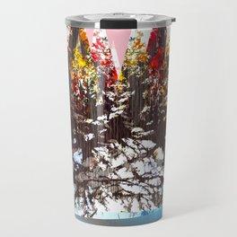 """""""Trees, Mountains, Flowers, Sun Vector Illustration V2"""" Travel Mug"""