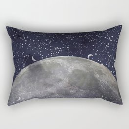 Mystic Galaxy Constellation Moon Stars and Cosmic Space White Rectangular Pillow