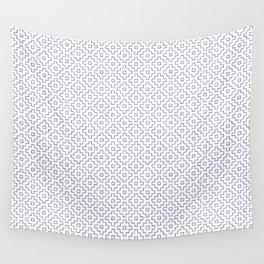 Persimmon Hitomezashi Sashiko - Blue on White Wall Tapestry