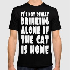 Drinking & Cats Mens Fitted Tee Black LARGE