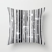 stripe Throw Pillows featuring Stripe by Moe Notsu