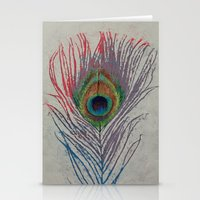 peacock feather Stationery Cards featuring Peacock Feather by Michael Creese